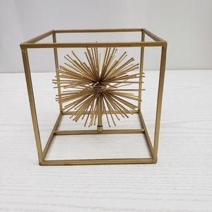 Gold Starburst Cube Metal Art Modern